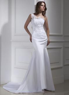 Corte trompeta/sirena Un sólo hombro Cola corte Satén Vestido de novia con Encaje Bordado