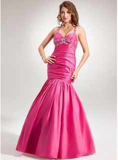 Mermaid Halter Floor-Length Taffeta Holiday Dress With Ruffle Beading