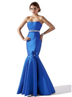 Mermaid Sweetheart Floor-Length Satin Evening Dress With Beading Flower(s) (017013797)