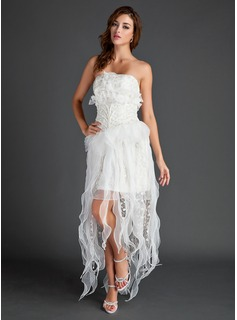 A-Line/Princess Strapless Asymmetrical Organza Holiday Dress With Lace Beading (020025971)