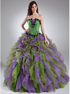 Ball-Gown Scalloped Neck Floor-Length Organza Satin Quinceanera Dress With Lace Beading Flower(s) (021015944)
