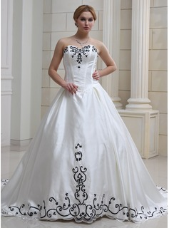Ball-Gown Sweetheart Cathedral Train Organza Satin Wedding Dress With Embroidery Beadwork Sequins