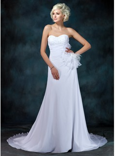 A-Line/Princess Sweetheart Court Train Chiffon Wedding Dress With Ruffle Lace Beadwork Flower(s) (002001216)