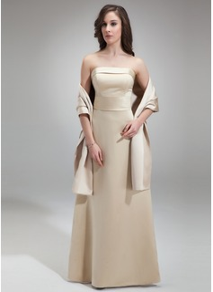 Sheath/Column Strapless Floor-Length Satin Bridesmaid Dress