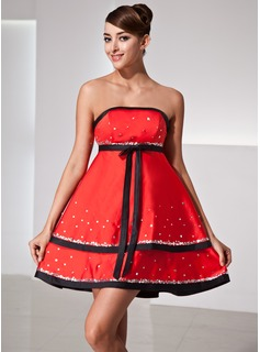 Empire Strapless Short/Mini Satin Homecoming Dress With Sash Sequins Bow(s)