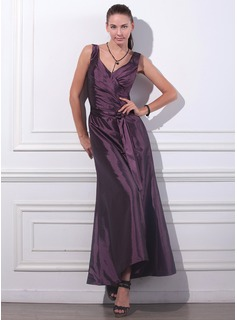 A-Line/Princess V-neck Ankle-Length Taffeta Evening Dress With Ruffle (017012861)