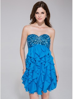 Empire Sweetheart Short/Mini Chiffon Sequined Homecoming Dress With Ruffle Beading