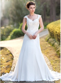 A-Line/Princess V-neck Chapel Train Chiffon Wedding Dress With Lace Beadwork Sequins (002000159)