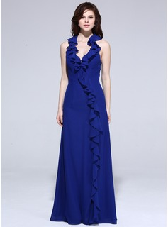 Sheath Halter Floor-Length Chiffon Evening Dress With Ruffle