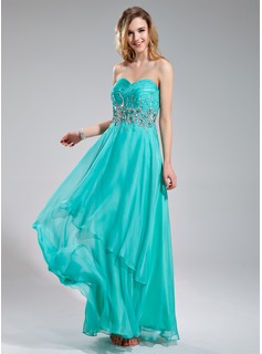 A-Line/Princess Sweetheart Floor-Length Chiffon Prom Dress With Beading Sequins Cascading Ruffles