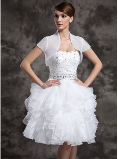 A-Line/Princess Sweetheart Knee-Length Organza Satin Wedding Dress With Beading Sequins Cascading Ruffles