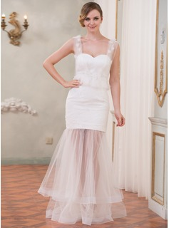 Trumpet/Mermaid Sweetheart Floor-Length Tulle Lace Wedding Dress With Beading Flower(s)