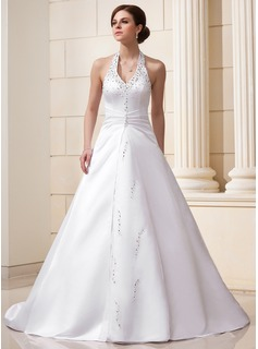 A-Line/Princess Halter Chapel Train Satin Wedding Dress With Ruffle Beadwork Sequins