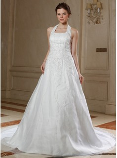 A-Line/Princess Halter Chapel Train Organza Satin Wedding Dress With Lace Beadwork Sequins