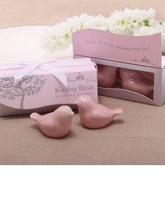 Bird Design Ceramic Salt & Pepper Shakers With Ribbons (Set of 2)