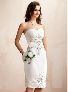 Sheath/Column Sweetheart Knee-Length Satin Wedding Dress With Beadwork Sequins