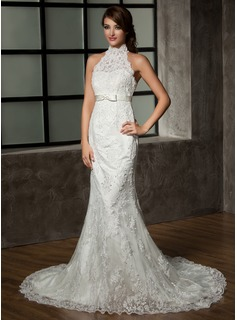 Trumpet/Mermaid Halter Chapel Train Satin Tulle Wedding Dress With Lace