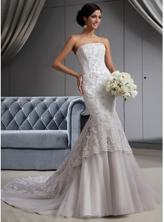 Mermaid Strapless Chapel Train Satin Tulle Wedding Dress With Lace Beadwork (002022658)