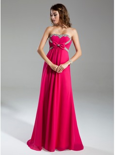 Empire Sweetheart Sweep Train Chiffon Holiday Dress With Ruffle Beading (020015319)