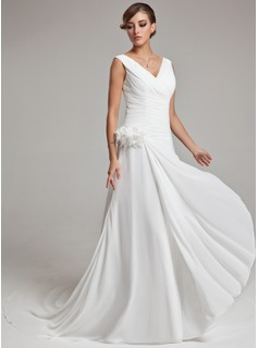 A-Line/Princess V-neck Court Train Chiffon Wedding Dress With Feather Flower(s) Cascading Ruffles