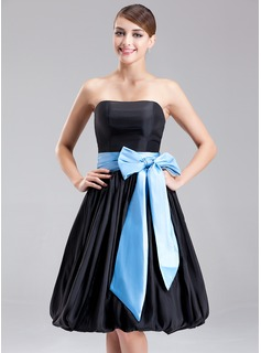 Empire Strapless Knee-Length Taffeta Bridesmaid Dress With Sash Bow(s)