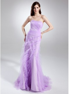 Trumpet/Mermaid Sweetheart Court Train Tulle Prom Dress With Cascading Ruffles