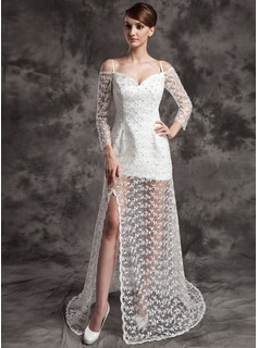 A-Line/Princess Off-the-Shoulder Sweep Train Satin Lace Wedding Dress With Beadwork (002024084)