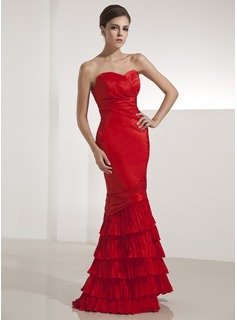 Mermaid Sweetheart Floor-Length Taffeta Evening Dress With Ruffle (017014251)