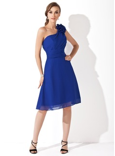 A-Line/Princess One-Shoulder Knee-Length Chiffon Bridesmaid Dress With Ruffle Flower(s) (007021111)