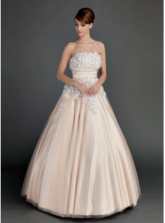 Ball-Gown Strapless Floor-Length Tulle Charmeuse Quinceanera Dress With Ruffle Beading Flower(s)
