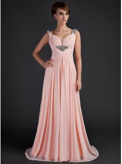 A-Line/Princess Scoop Neck Sweep Train Chiffon Tulle Mother of the Bride Dress With Ruffle Beading
