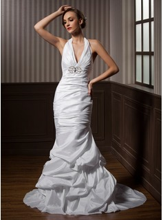 Mermaid Halter Court Train Taffeta Wedding Dress With Ruffle Beadwork