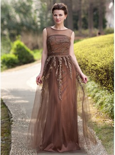 A-Line/Princess Scoop Neck Floor-Length Tulle Charmeuse Mother of the Bride Dress With Beading Appliques Sequins