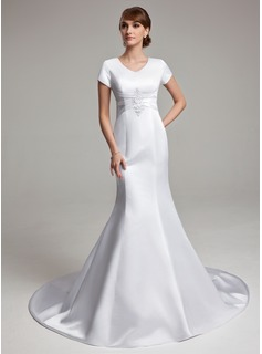 Mermaid V-neck Chapel Train Satin Wedding Dress With Ruffle Lace