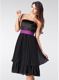 A-Line/Princess Strapless Knee-Length Chiffon Satin Bridesmaid Dress With Ruffle Sash (007000944)