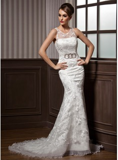 Mermaid Scoop Neck Court Train Organza Satin Lace Wedding Dress With Ruffle Beadwork