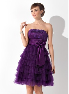 A-Line/Princess Strapless Knee-Length Tulle Charmeuse Cocktail Dress With Lace Bow(s) Cascading Ruffles Pleated