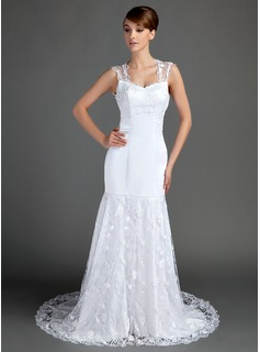 Mermaid Sweetheart Chapel Train Satin Lace Wedding Dress