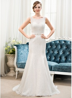 Trumpet/Mermaid Scoop Neck Sweep Train Satin Lace Wedding Dress With Beading Sequins