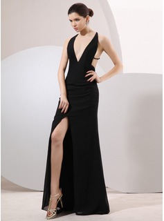 Sheath V-neck Sweep Train Chiffon Evening Dress