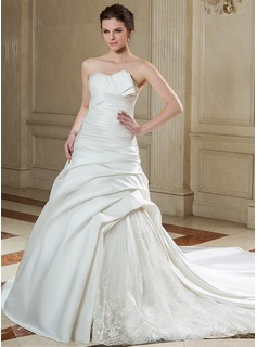 Ball-Gown Scalloped Neck Chapel Train Organza Satin Wedding Dress With Ruffle Lace Beadwork