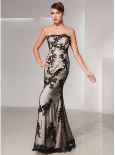 Mermaid Strapless Floor-Length Tulle Charmeuse Evening Dress With Lace (017014428)
