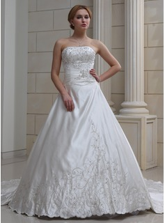 Ball-Gown Sweetheart Cathedral Train Satin Wedding Dress With Embroidery Beadwork (002004478)