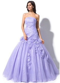 Trumpet/Mermaid Strapless Court Train Organza Wedding Dress With Ruffle Beading Flower(s)