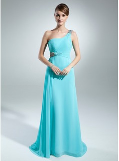 A-Line/Princess One-Shoulder Sweep Train Chiffon Mother of the Bride Dress With Ruffle Beading