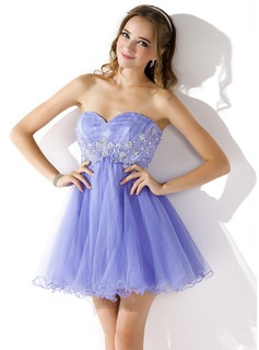 Empire Sweetheart Short/Mini Tulle Homecoming Dress With Ruffle Lace Beading