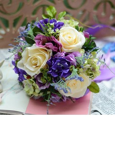 Colorful Free-Form Satin Bridal Bouquets