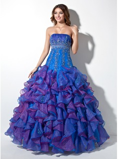 Ball-Gown Strapless Floor-Length Organza Quinceanera Dress With Ruffle Lace Beading Sequins