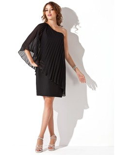 Sheath One-Shoulder Knee-Length Chiffon Cocktail Dress With Ruffle (016008695)