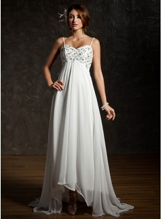 Empire Sweetheart Asymmetrical Chiffon Wedding Dress With Ruffle Lace Beadwork Sequins